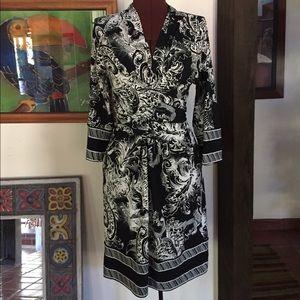 BCBG MaxAzria Black & White Midi Dress, Small
